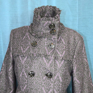 Steve Madden Coat Double Breasted Damask Print